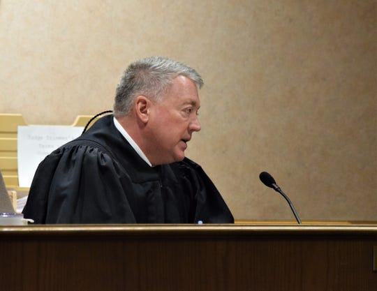 Fairfield County Common Pleas Court Judge David Trimmer addresses defendant Tyler Sunday Jan. 2. Sunday was sentenced to seven and a half years in prison.