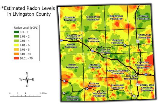 A map of estimated radon levels in Livingston County shows that elevated levels of the potentially harmful, naturally-occurring gas are found throughout the county.