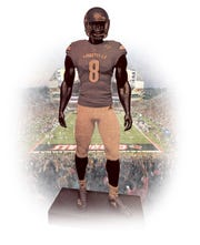 An illustration of what a Lamar Jackson statue could look like.