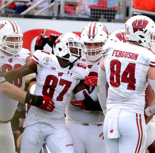 Badgers wide receiver Quintez Cephus scores a touchdown in the second quarter during  the 2020 Rose Bowl Wednesday.
