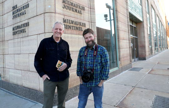 Retiring Milwaukee Journal Sentinel columnist Jim Stingl, left, and Milwaukee Journal Sentinel photojournalist Mike De Sisti are pictured outside the Milwaukee Journal Sentinel in Milwaukee. From 2008 until about 2011, De Sisti and Stingl went out and shot entertaining videos to run online with Stingl's columns.