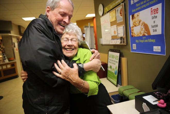 Seconds after meeting her in 2014, Milwaukee Journal Sentinel columnist Jim Stingl is greeted by Gert Ullsperger with a big hug before their interview. Ullsperger was grandma to generations of students at Carroll University in Waukesha, having worked in the cafeteria for more than 50 years.