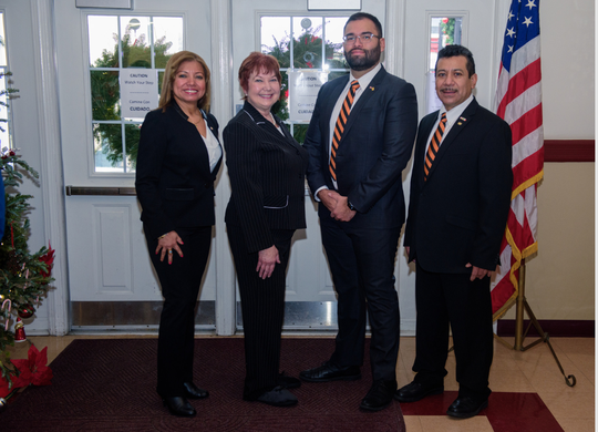 New Aldermen members were sworn-in on Jan 1st. From left to right Alderwoman for the 1st Ward Jessica Alonso, Alderwoman for the 2nd Ward Judith Rugg, Alderman for the 3rd Ward Adrian Ballesteros and Alderman for the 4th Ward Marcos Tapia Aguilar Senior.