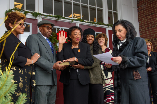 Mayor Carolyn Blackman stands alongside her family during her swearing in on Jan 1st.