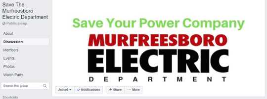 """This """"Save The Murfreesboro Electric Department"""" is a Facebook group page for those wanting to comment about the   City Council considering the proposed sale of the utility to Middle Tennessee Electric Membership Corporation."""
