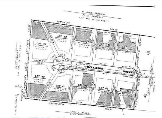 Screenshot of drawing of lots in the Rock Church Estates subdivision in Dickson County.