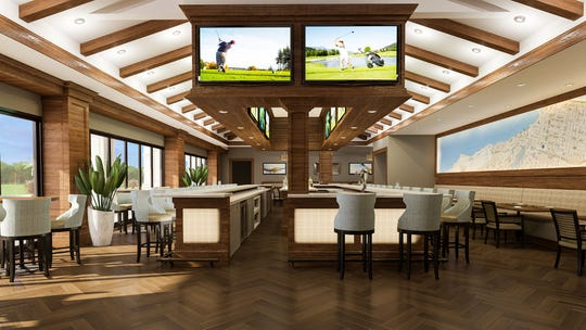 Artists' rendering of the redesigned, expanded Mr. P's Pub, a casual upscale restaurant in Vineyards Country Club.