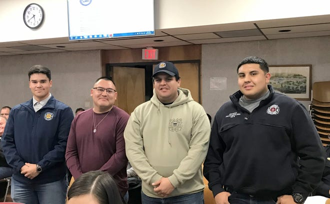 Deming Firefighters who battled the basement blaze at Rise and Shine Bakery and Cafe on Dec. 16, 2019 were, from left, Nate Lopez, Lt. Chris Holguin, Christian Orozco and Cristian Montelongo. Not pictured were Daniel Ortiz and Maryln Guzman.