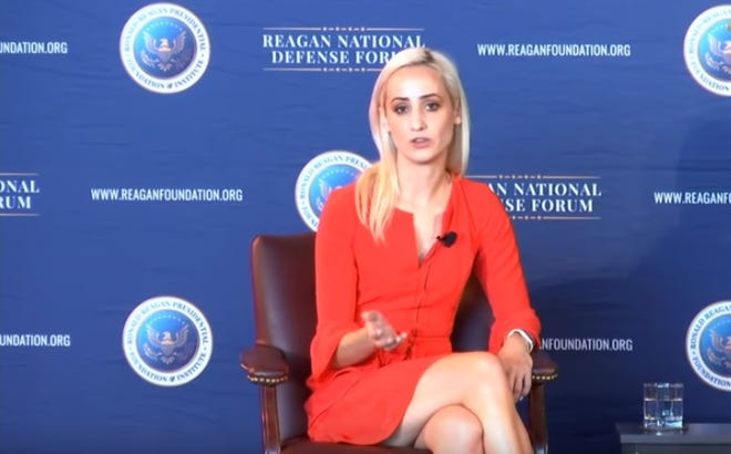 Rachel Olney, who was born and raised in Mesilla, New Mexico, spoke at the Reagan National Defense Forum in Simi Valley, California in December 2018.