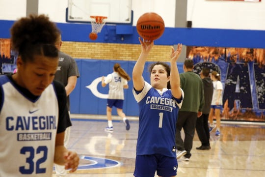 Carlsbad's Jerry Lynn McDonald shoots free throws during practice on Jan. 1, 2020. Carlsbad travels to Las Cruces to face Mayfield on Jan. 3 and Centennial on Jan. 4.
