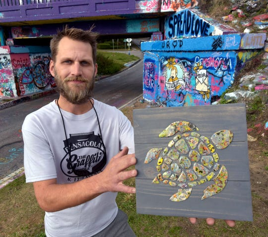 Joseph Seurkamp recently secured the trademark rights for the Graffiti Bridge. Seurkamp makes jewelry from paint that chips off the iconic Pensacola landmark, and he also maintains the bridge's popular Facebook page.