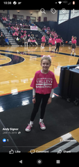 Grace Signor, before singing, the national anthem at a Lebanon Valley College women's basketball game.