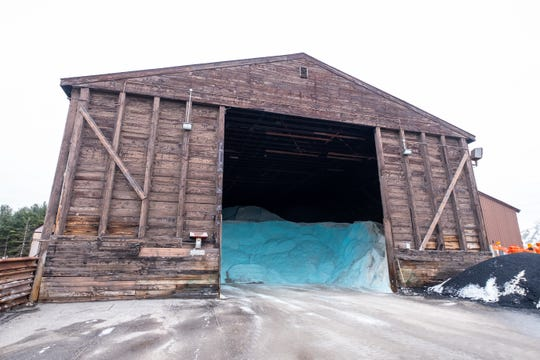 Road salt fills a barn at the St. Clair County Road Commission. The department said the lack of snow has had a positive impact as they have had to use less resources, like road salt and plow trucks.