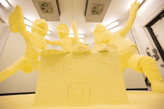 The 2020 butter sculpture depicts three of Pennsylvania's beloved pro sports mascots: Philadelphia Flyers' Gritty, Philadelphia Eagles' Swoop and Pittsburgh Steelers' Steely McBeam.