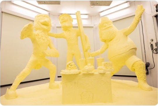 Three iconic mascots make up the PA Farm Show butter sculpture this year.