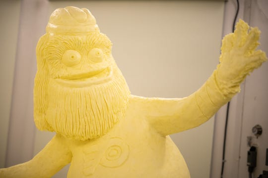 The Philadelphia Flyers' Gritty is one of the pro sports mascots featured in the 2020 butter sculpture.