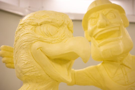 Mascots including the Philadelphia Eagles' Swoop and Pittsburgh Steelers' Steely McBeam were incorporated in the 2020 Pennsylvania Farm Show butter sculpture.