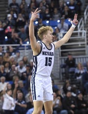 Nevada's Zane Meeks hits a three pointer while taking on Colorado State during their basketball game at Lawlor Events Center in Reno on Jan. 1, 2020.