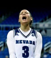 Nevada's Essence Booker celebrates a score against Saint Mary's at Lawlor Events Center on Nov. 5, 2019. Nevada won 78-72.