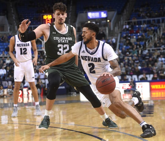 Nevada's Jalen Harris drives while taking on Colorado State during their basketball game at Lawlor Events Center in Reno on Jan. 1, 2020.