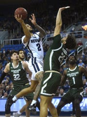 Nevada's Jalen Harris drives to the basket while taking on Colorado State during their basketball game at Lawlor Events Center in Reno on Jan. 1, 2020.