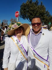 Susan B. Anthony Museum and House director Deborah Hughes and Kenneth B. Morris, great-great-great grandson of Frederick Douglass, at the 2020 Tournament of Roses Parade in Pasadena, California.