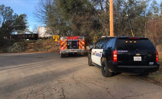 Authorities investigate a report of a train hitting and killing a person in the city of Shasta Lake on Thursday morning, Jan. 2, 2020.