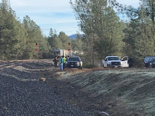 Shasta County sheriff's deputies investigate a report of a train hitting and killing a person in the city of Shasta Lake on Thursday morning, Jan. 2, 2020.