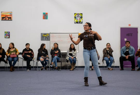 Alma Lopez is the statewide coordinator of Brown Issues. Lopez takes over the open mic session during the Brown Issues pop-up inside the Alisal Center for the Fine Arts in East Salinas on Dec. 28, 2019.