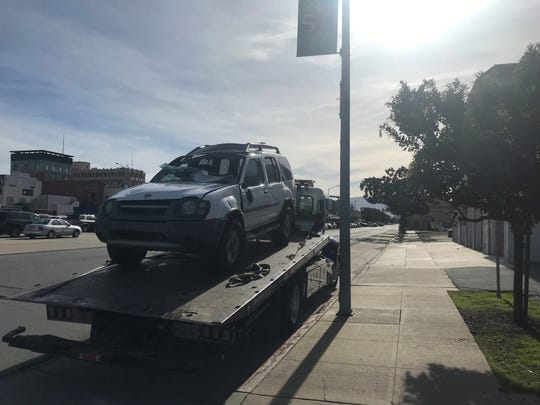 A Nissan Xterra wound up on its side after a crash on Salinas Street Jan. 2, 2020.