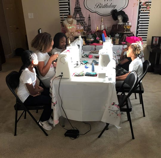 Sewing birthday party hosted by Sewority House.