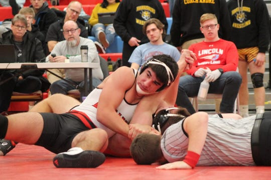 Brandon Valley's Damion Schunke wrestles at 182 pounds at the Floyd Farrand tournament on Monday, Dec. 30.