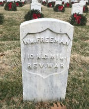 William Freeman is the only veteran of the Revolutionary War buried at the Springfield National Cemetery. He served in the 10th North Carolina Militia. His grave was moved to the cemetery at South Glenstone Avenue and Seminole Street in 1908.