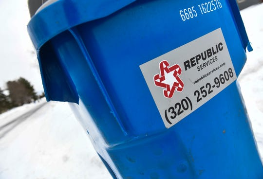 A recycling container is pictured Thursday, Jan. 2, 2019, in Sartell.