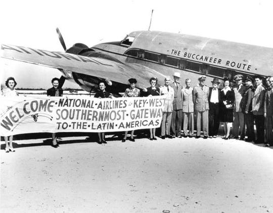 People pose for the first scheduled service between Miami and Key West by National Airlines in 1944.