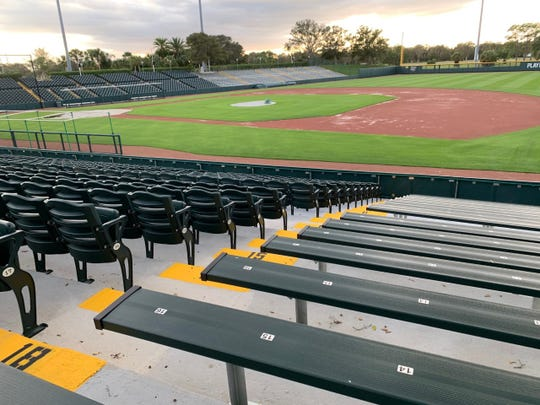 2019 renovations to Holman Stadium at the Jackie Robinson Training Center in Vero Beach included new seats and benches.