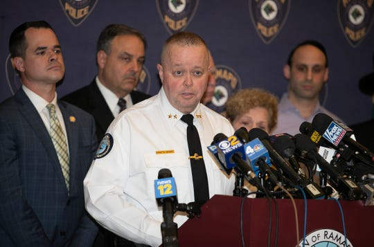 Ramapo Police Chief Brad Weidel updates the press on the investigation  during a press conference at Ramapo Town Hall in Airmont on Thursday, January 2, 2020.