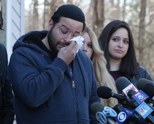 David Neumann, son of Monsey stabbing victim Josef Neumann, talks about the attack on his father, at a family home on Jan. 2, 2020. The son broke down as he spoke about the attack and the fact that he was not at the synagogue on the night of the attack, owing to the illness of his children.