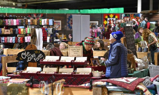 Many items are on display during the Growers and Makers Marketplace event Saturday, Dec. 14, 2019 at Sprout food hub in Little Falls.