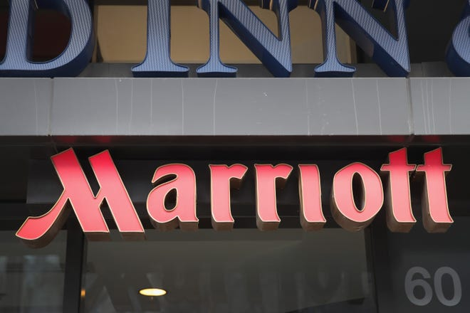 A sign marks the location of a Fairfield Inn & Suites Marriott hotel on November 30, 2018 in Chicago, Illinois.