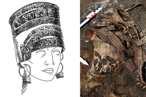 A headdress unearthed with the remains of ancient female warriors matches depictions of the mythical Amazons.