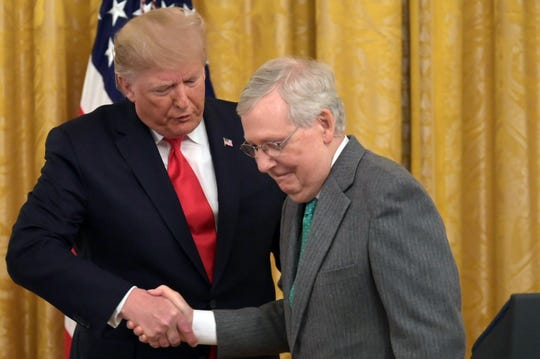 President Donald Trump and Senate Majority Leader Mitch McConnell on Nov. 6, 2019.