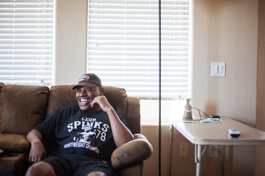 Former boxing champion Leon Spinks is shown at his home in Henderson, Nevada in July 2015.