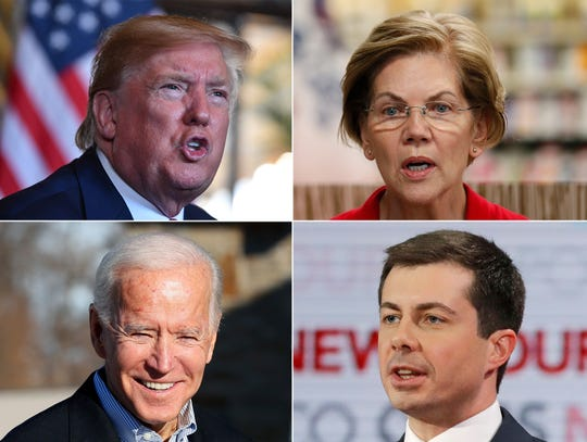 2020 presidential candidates US President Donald J. Trump, Elizabeth Warren, Joe Biden and Pete Buttigieg.