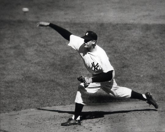 New York Yankees pitcher Don Larsen throws a perfect game against the Brooklyn Dodgers in Game 5 of the 1956 World Series.