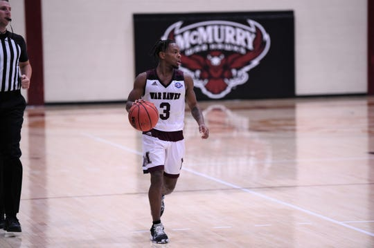 McMurry guard Dedrick Berry (3) brings the ball down the court against LeTourneau at Kimbrell Arena on Thursday, Jan. 2, 2020. Berry scored a career-high 26 points on his birthday as the War Hawks won 91-86.