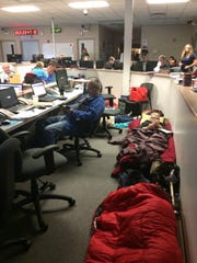 Because of the cramped conditions of the current Brevard County Emergency Operations Center in Rockledge, during hurricanes, employees and volunteers assigned to the center who are off-duty set up their sleeping bags near other employees and volunteers who are on duty.
