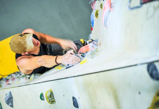 Vermont Army National Guard Specialist Troy Anger, representing the Army Mountain Warfare School in Jericho, Vermont, competes in the Austrian Military Sport Climbing World Championship in Villach, Austria, in November, 2019. Anger placed first in his division and second place overall.