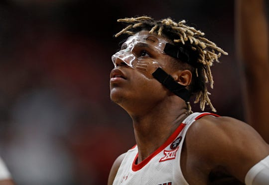 Texas Tech's Jahmi'us Ramsey (3) during the first half of an NCAA college basketball game against Long Island, Sunday, Nov. 24, 2019, in Lubbock, Texas. (AP Photo/Brad Tollefson)