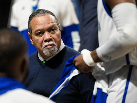 Texas A&M-Corpus Christi Islanders head coach Willis Wilson takes to his team against Northwestern State in a Southland Conference game, Thursday, Jan. 2, 2020, at the American Bank Center.